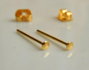 Tiny Gold Stud Earrings - Circle stud earrings - Tiny Round Stud Earrings