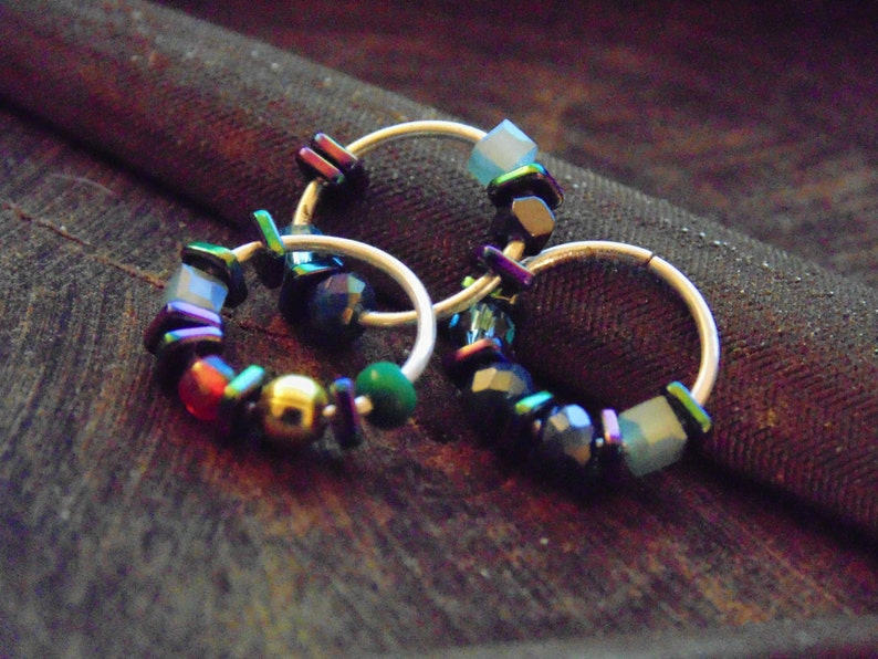 sterling silver unique nose ring Hoop Nose rings with colorful beads
