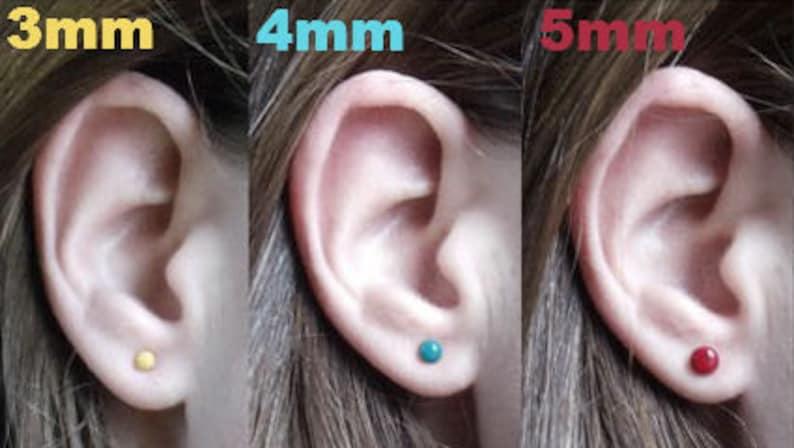 Rainbow Moonstone Stud Earrings 4MM  Moonstone Post Earrings Sterling Silver Stud Earrings