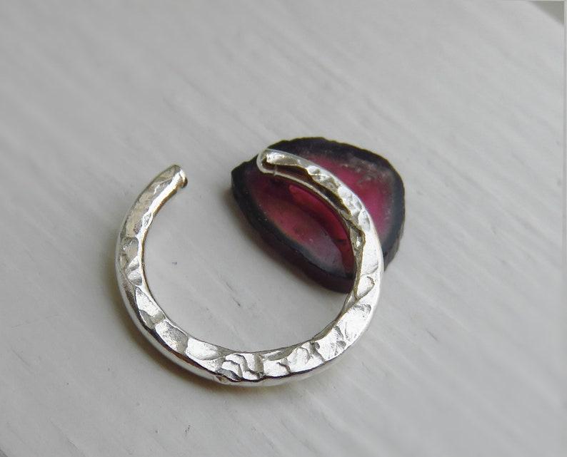 FAKE SEPTUM RING Hammered Silver Clip on septum ring