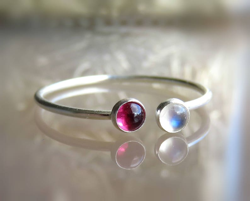 Rainbow Moonstone Silver Ring  Moonstone and Garnet RING  Moonstone Stacking Ring  Dual Ring