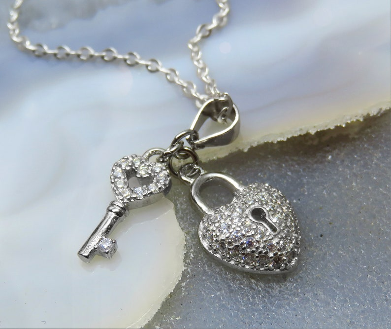 Heart Key Silver Necklace Sterling Silve Heart Necklace CZ Cubic Zirconia Heart Necklace