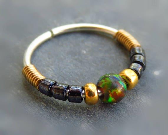 Beaded Septum Ring Black Opal Septum Ring Black Nose Ring Etsy
