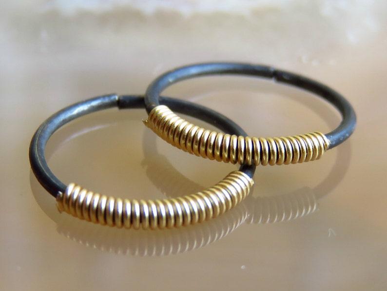 Silver conch piercing / conch hoop / nipple piercing / mens image 0