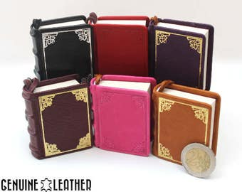 Mini book keychain made from real leather with embossing ed085991294f