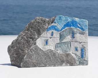 Painted stone with Greek houses and church in acrylics