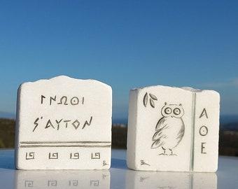 Κnow thyself, Athenian owl, Ancient Greek saying and  painted on marble stone, Greek office decor, Set of 2, CUSTOM ORDER