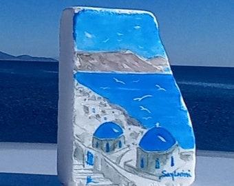 Santorini painted gift on Greek marble stone, Painted Greek stone, Anniversary gift, Custom order