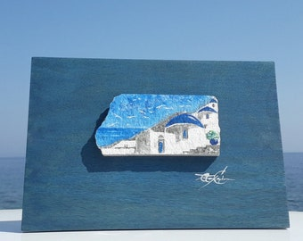 Greek wall painting on natural rock, Unique wall art with coastal landscape