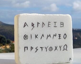 Ancient Greek alphabet painted on white Greek marble stone, Handmade Greek gift