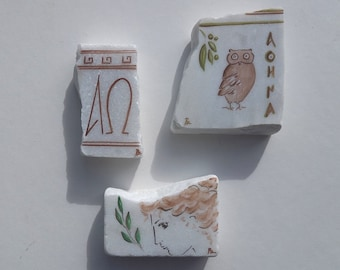 Ancient Greek owl, Goddess Athena and Greek alphabet painted on marble stone, Teacher's art gift, Greek home and office decor