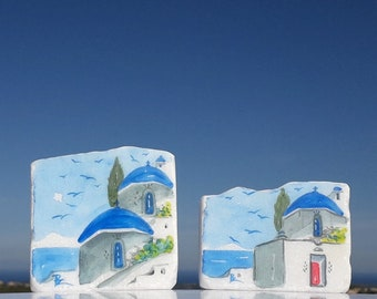 Watercolor Greek houses and church painted on Greek marble stone, Set of 2