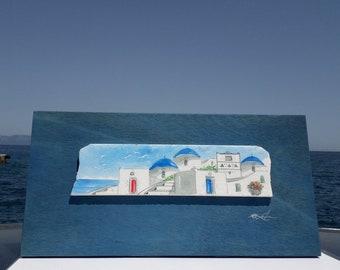 Wedding gift of Greek art hand painted in Watercolor on  Greek Marble Stone, Custom order
