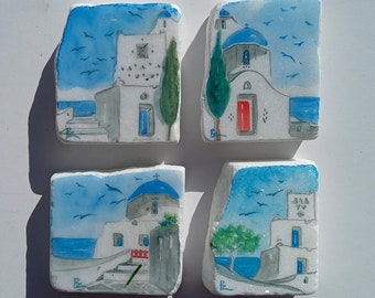 Greek houses and church painted gift of white marble stone in watercolor, Set of 4