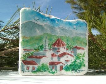 Greek art gift, Ikaria painted on Greek marble stone, Christos Rachon, Greek home decor, Custom Order