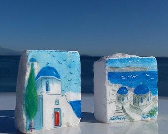 Santorini Greece art pieces, Santorini island painted on Greek marble stone, Set of 2