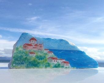 Greek painting of island Ikaria  hand painted on Greek marble stone, Magganitis Ikaria