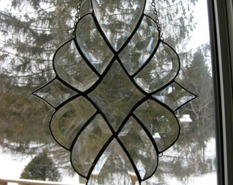 Art glass star clear beveled cluster hand crafted