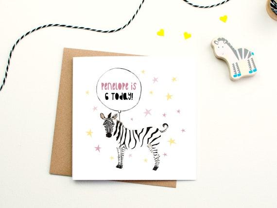 Personalised Childrens Birthday Card Zebra Birthday Card Etsy