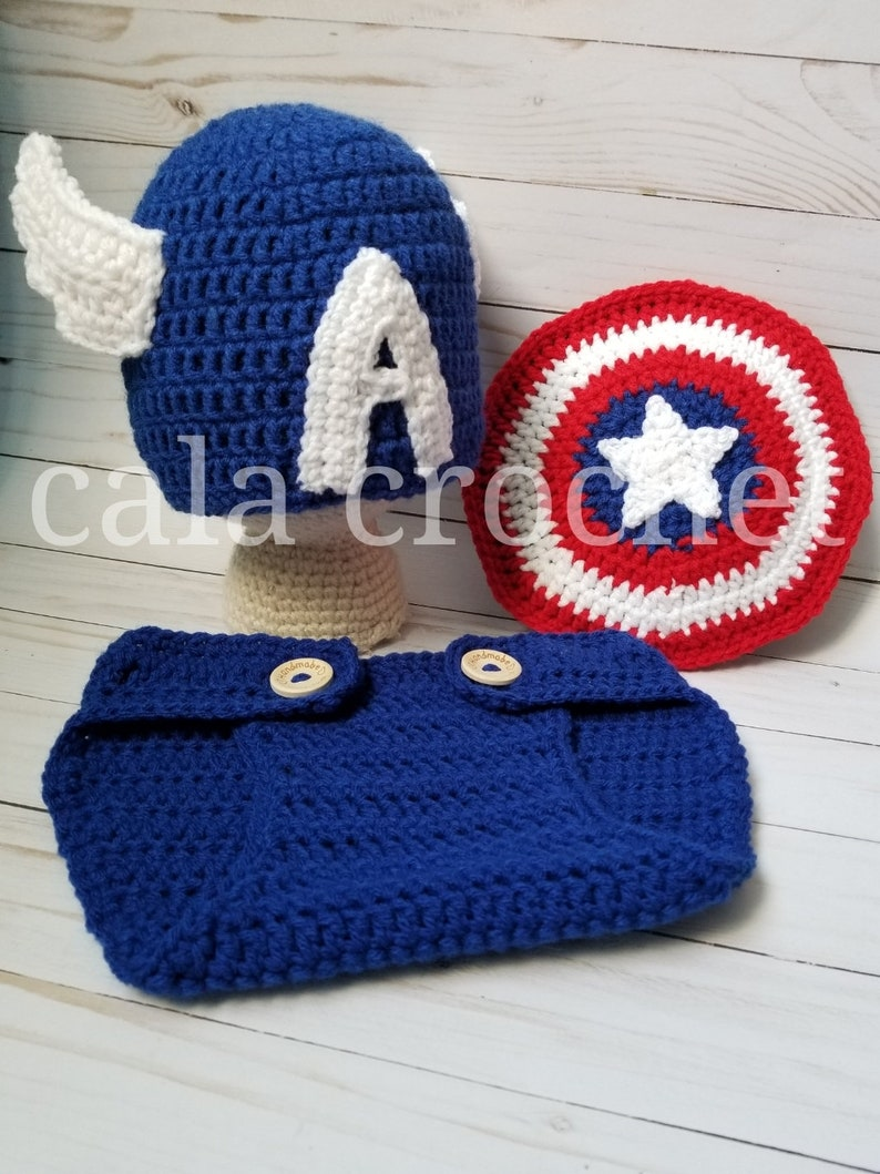 92ccfcf94a5 Crochet Captain America Baby Set outfit costume