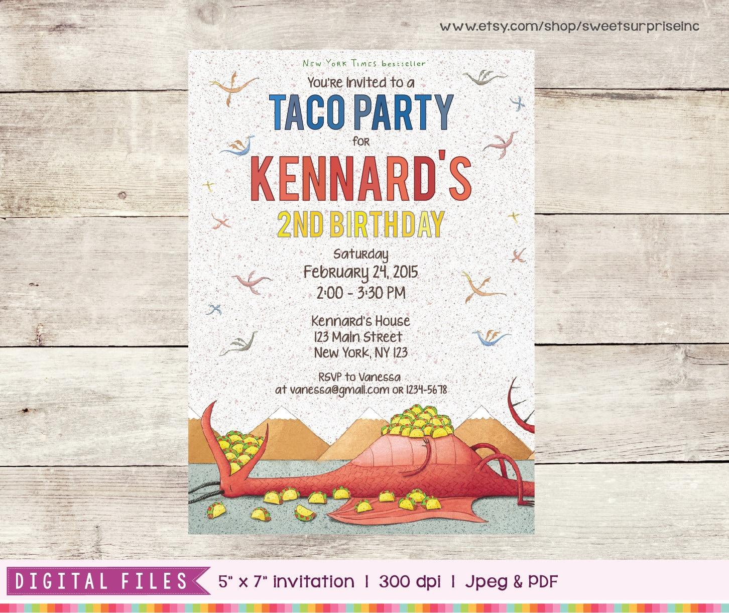 dragons love tacos invitation printable digital print etsy