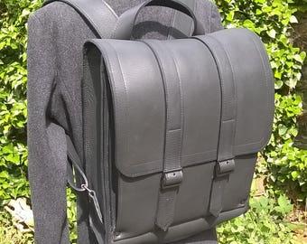 Black Leather BackPack / Rucksack. Leather Rucksack, Leather Messenger Bag, Leather Laptop Bag, Leather Holdall, Premium Leather. Large.