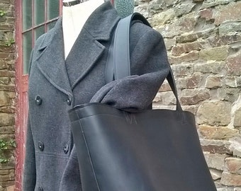The Grand Shopper in Black Leather. Quality Leather Giant Shopper Tote.  Giant Leather Tote, Leather Shopper, Leather Holdall, The Angie.
