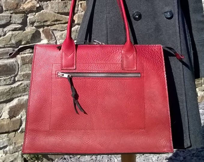 Ladies Red Leather Handbag, Red Leather Day Bag, Red Leather Tote, Red Leather Shoulder Bag, Classic Travel Bag. The Mary.
