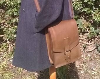 Gentleman's / Unisex Leather Small Cross Body/ Day Bag. Leather Messenger, Leather Day Bag, Leather Work Bag. The Mark.