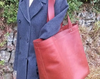 The Grand Shopper. Quality Leather Giant Shopper Tote.  Giant Leather Tote, Leather Shopper with Zip Closure. Large Leather Bag, The Angie.