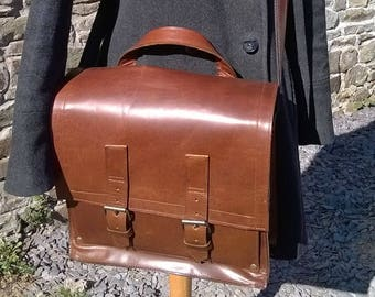 Leather Messenger Bag, Unisex Messenger, Leather Work Bag, Messenger Back Pack,Laptop Bag,Man's Leather Bible Book Satchel Bag. The David.
