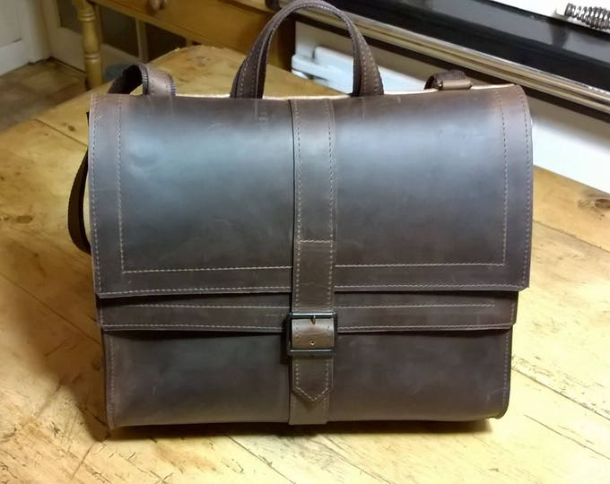 Quality Leather Satchel with Double Fold over Leather Flap. Leather Messenger, Leather Cross Body Bag, Leather Day Bag,  The Morgan.