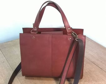 Custom Leather Rectangle Tote Bag. Medium Leather Tote.  Leather handbag,  Dark Tan Leather Ladies Handbag. Leather Cross Body Bag,