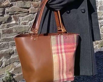 Brown Leather & Tartan Handbag, Leather and Tartan Tote, Leather Tote, Leather Day Bay,  Leather and tartan tweed Handbag. The Elizabeth.