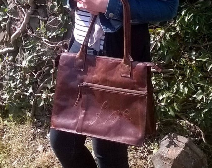 Leather Shoulder Bag, Leather Tote, Leather Day Bag, Leather Handbag, Ladies, unique, leather 'love' handbag. Personalised. The Mary.
