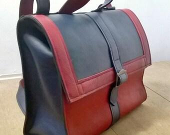 Red & Blue Leather Satchel. Leather Messenger, Leather Cross body Bag, Leather Shoulder Bag. Messenger bag. Shoulder Bag, The Josephine.
