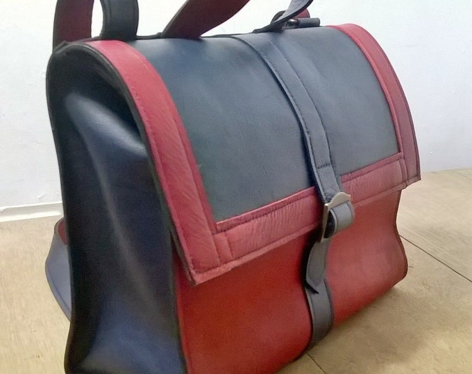 Red & Blue Leather Satchel. Leather Messenger, Leather Cross body Bag, Leather Shoulder Bag. Messenger bag. Shoulder Bag, The Josephine.