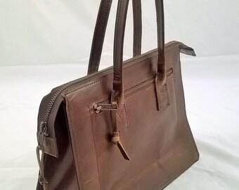 Small vintage style ladies leather handbag. Small Leather Tote, Leather Day Bag, Handmade leather Tote, The Jada.