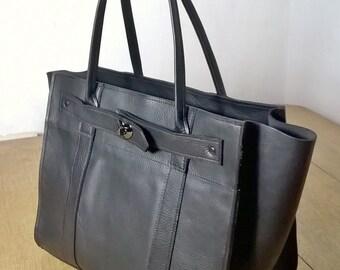 Ladies Black Leather Tote Handbag. Large black leather Tote. Leather Shoulder Bag, Black Leather Tote. Black Leather Handbag. Heart clasp.