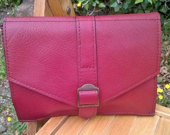 Ladies Red Leather Clutch Bag. Red Leather Cross Body Bag, Leather Clutch, Red Leather Handbag, Red Leather messenger. The Isabel.