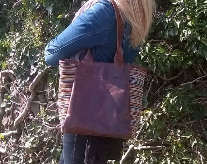 Ladies, Premium Quality, Leather Tote Handbag with Fabric Panels. Leather Day Bag, Leather Shoulder Bag, Leather & Fabric Tote, The Jessica.