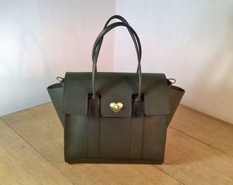 Ladies Leather Tote Handbag. The Ossiansleather Bayswater. Leather Shoulder Bag, Small Leather Tote. Ladies Leather Handbag in Dark Olive.