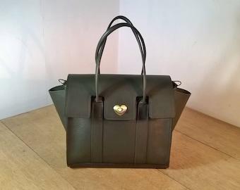 Ladies Leather Tote Handbag. Leather Shoulder Bag, Small Leather Tote. Ladies Leather Handbag in Dark Olive. The Sabina.