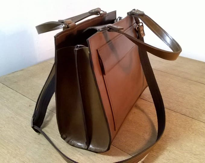 Custom Leather Rectangle Tote Bag. Medium Leather Tote.  Leather handbag,  Dark Tan Leather Ladies Handbag. Leather Cross Body Bag,