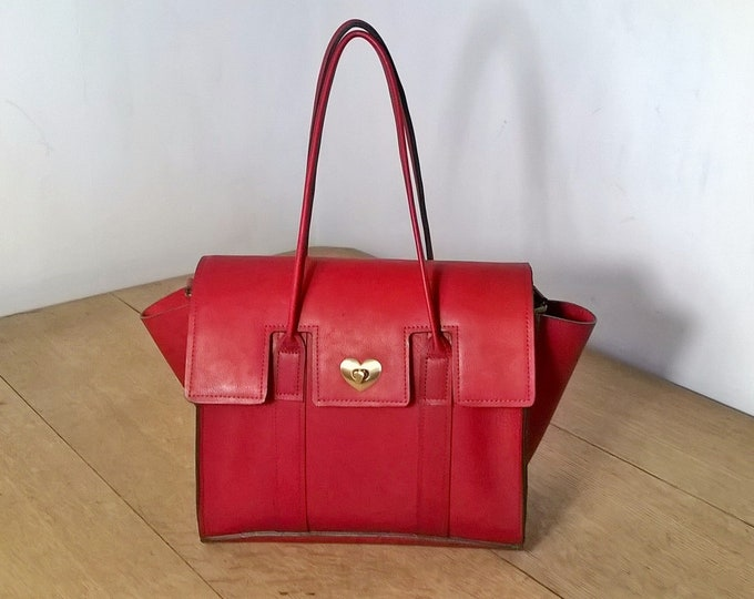 Ladies Red Leather Tote Handbag. Red Leather Shoulder Bag, Small Leather Tote. Ladies Leather Handbag in Dark Red. Handmade