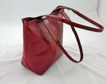 Ladies Leather Tote Shoulder Bag. Red Leather Tote, Leather Handbag, Leather Day Bag, Small Leather Tote, Red Leather Handbag, The Julie.