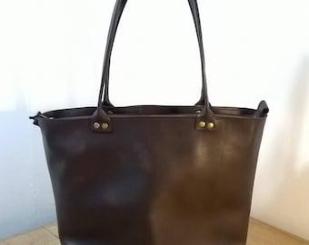 Medium Leather Tote. Medium Leather Hand Bag.  Leather Shopper Tote. Brown/Black Leather Tote. Leather Day Bag. Leather Shoulder Bag.