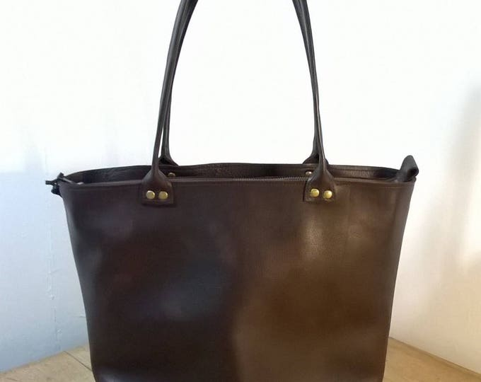 Medium Leather Tote. Medium Leather Hand Bag.  Leather Shopper Tote. Brown/Black Leather Tote. Leather Day Bag. Leather Shoulder Bag.