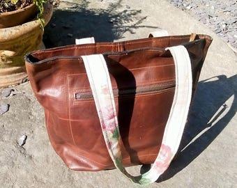 Leather Tote, Ladies Genuine Leather Tote Shoulder Bag. Leather Handbag, Custom Leather Small Tote, Shoulder Bag,The Julie in Brown.