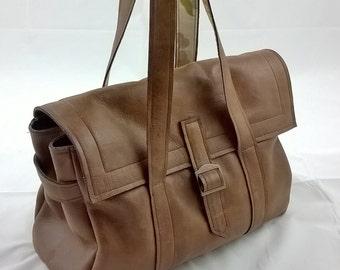 Ladies Leather Handbag. Leather Tote, Leather Shoulder Bag, Leather Messenger, Rustic Bag, Quality leather, Linen Lining. Leather Day Bag
